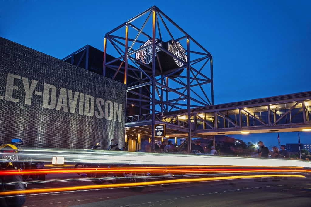 harley-davidson museum at night